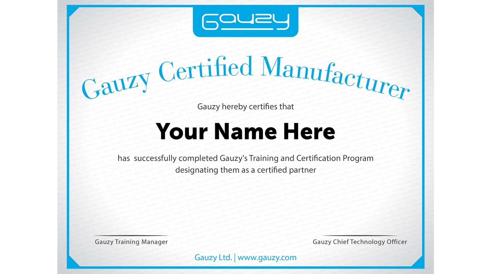 gauzy certificate