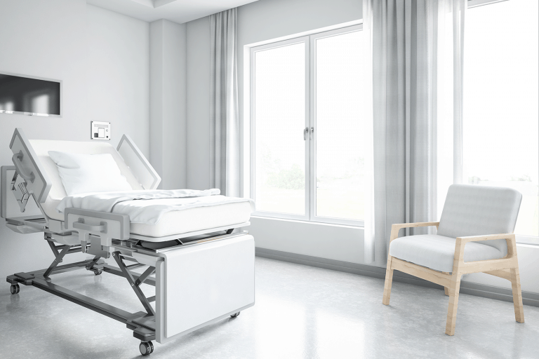 hospital room with glass window