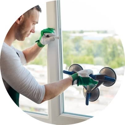 Male worker installing privacy glass
