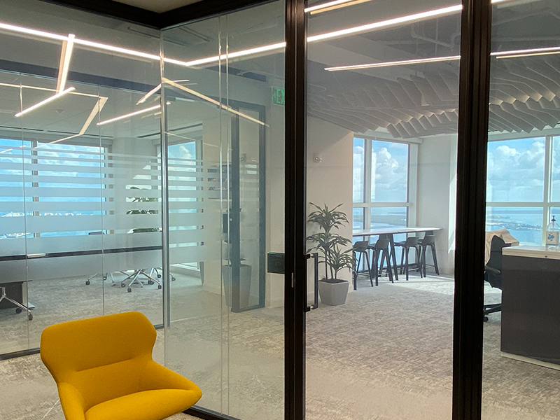 """smart glass for office in """"on"""" state"""