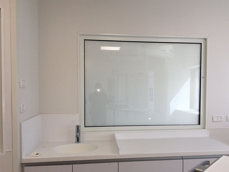 Doctor's office with smart glass off